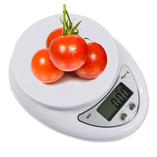 Digital Scale Kitchen Accurate Multifunction Best Food Weighing Scales LED Display White Small Precise 11Lb 5Kg x 1 Gram