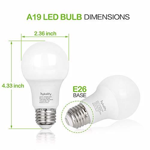Hykolity 24 Pack 60W Equivalent A19 LED Light Bulb, 9W, 5000K Daylight, 800LM, E26 Medium Base, Non-Dimmable, UL Listed