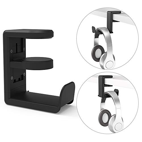 Desk Headphone Hook Hanger, MiiKARE Headset Stand with Cable Organizer and 360 Rotating Arm Gaming Headset Holder Under Desk Fit for All Headphone Sizes (Black)