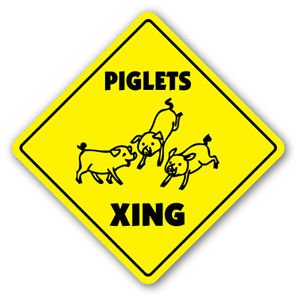 PIGLETS CROSSING Sign novelty gift animals pig pigs hog farm farmer raising
