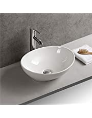 Gimify Bathroom Vessel Sink Above Counter Sink Ceramic Oval Bowl Wash Basin for Lavatory Vanity Cabinet Contemporary
