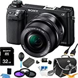 Sony NEX-6L/B NEX6 NEX-6 NEX-6L 16.1 MP Compact Interchangeable Lens Digital Camera with 16-50mm Power Zoom Lens and 3-Inch LED (Black) ULTIMATE BUNDLE with 32GB High Speed Card, Spare Battery, Deluxe Filter Kit, Mini HDMI cable, SD card reader + More, Best Gadgets