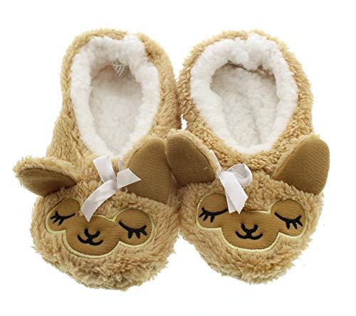 Novelty Kids Slippers for Girls Cute Animal Slippers Funny,Fuzzy Slipper Socks Llama Little Kid Size S 11-12 US