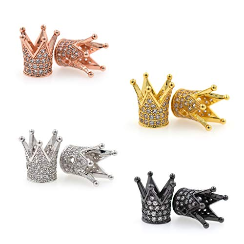- King Crown Charm Spacer Beads,Micro Pave Clear CZ Loose Beads for Men's Original Bracelet Jewelry Making 10Pcs (MixColor)