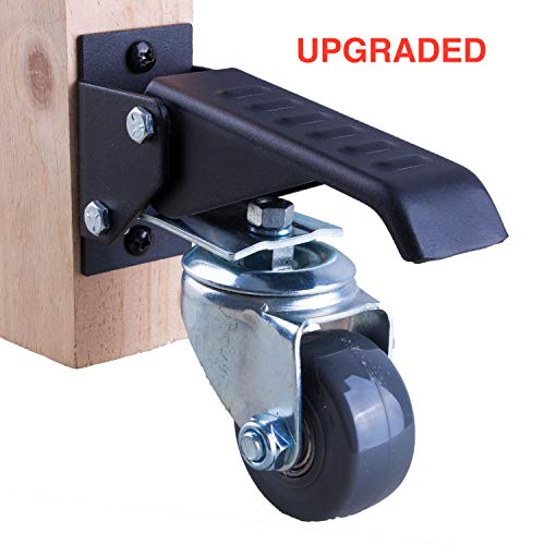 (Workbench Caster kit - 4 Extra Heavy Duty Retractable casters, 800 lbs Weight Capacity, Urethane Wheels)