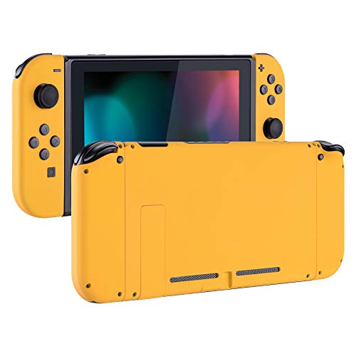 eXtremeRate Soft Touch Grip Back Plate for Nintendo Switch Console, NS Joycon Handheld Controller Housing with Full Set Buttons, DIY Replacement Shell for Nintendo Switch - Caution Yellow