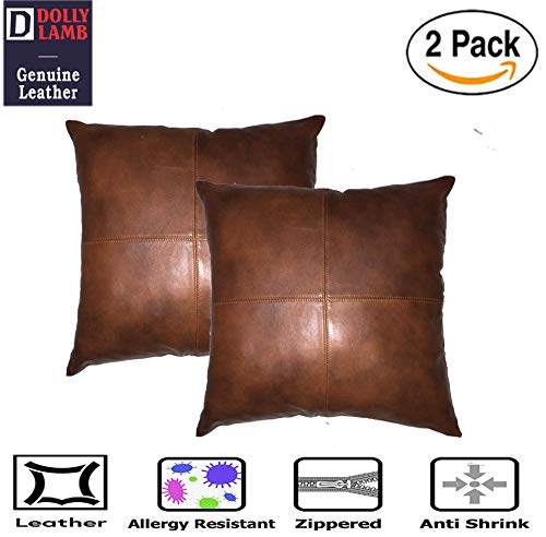 DOLLY LAMB 100% Lambskin Leather Pillow Cover – Sofa Cushion Case – Decorative Throw Covers for Living Room & Bedroom…