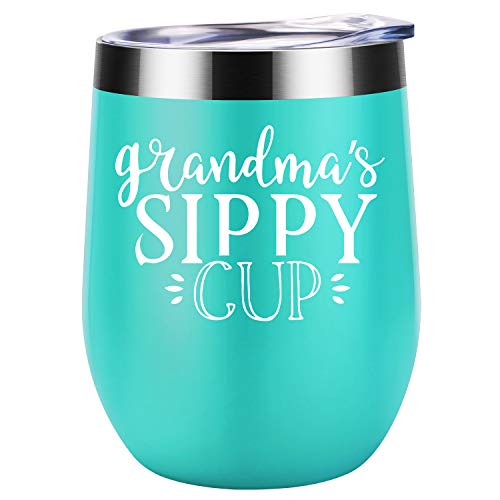 Grandma's Sippy Cup | Funny Grandma, Grandmother, Nana Gifts for Mother's Day from Grandaughters, Grandsons | Best Grandma Presents for Birthday | Coolife Stainless Steel Insulated Wine Tumbler - Ice Cream Pregnancy