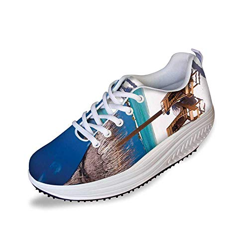 Landscape Stylish Shake Shoes,Island Caribbean Honeymoon Themed Beach Seashore Ocean Print for Women,11