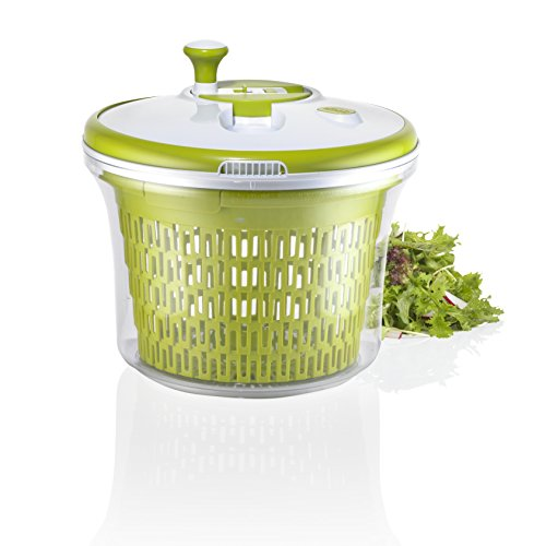 Salad Spinner, 5 Liter Bowl, Large Salad Tosser - Space Saving Vegetable Decontaminant with Spout Lid - By Jobox