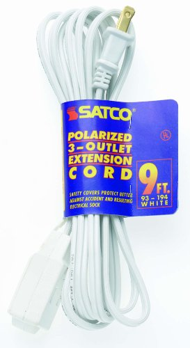 Satco Products 93/198 16/2 SPT Polarized 3 Outlet Extension Cord, White, 15-Foot - Polarized Extension Cord