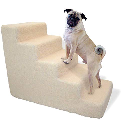 BringerPet Pet stairs for tall bed Foam Pet steps White 5 Step Dog Cat Animal Ramp