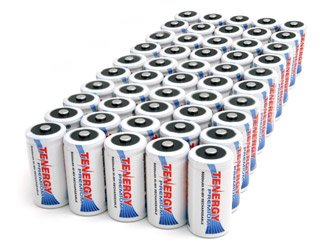 50 pcs of Tenergy Premium C Size 5000mAh High Capacity High Rate NiMH Rechargeable Batteries by Tenergy