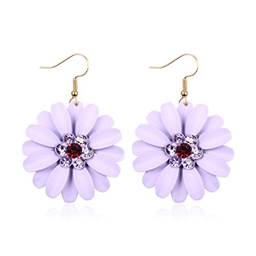 RIAH FASHION Lightweight Flower Petal Drop Earrings - Multi Petal Leaf Floral Metallic Wired Hoop, Sparkly Rhinestone Studs, Colorful Dangles (Daisy Dangles - Lavender)