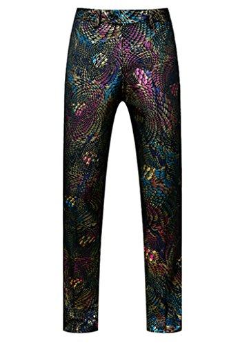 (MOGU Mens Luxury Sequin Printed Pants-Unhemmed US Size 30(Tag Size 50))