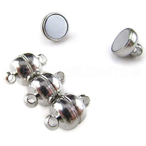 (CleverDelights 8 Magnetic Jewelry Clasps - Shiny Drum Style - Silver Color - Necklace Magnet Converter)