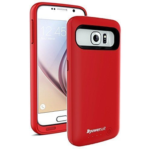 Galaxy S6 Battery Case, New PowerSuit® Extended ability condition for Samsung Galaxy S6 [Ultra slender ability & Protection] SmartIQ Safe-Charge know-how (Red)