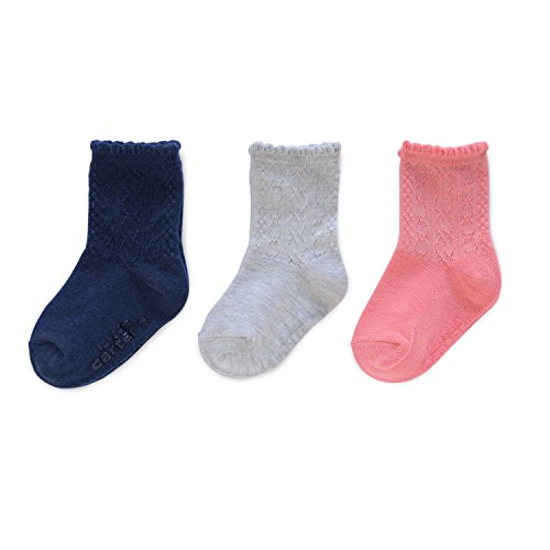 Carter's Girls' Crew Socks (3 Pack) Baby, Pink/Grey/Navy, 12-24 MONTHS