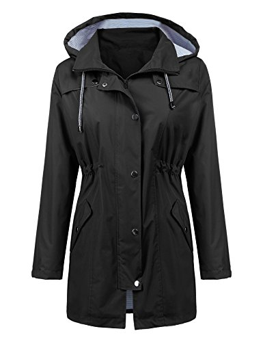 Women Raincoat Active Outdoor Waterproof Windproof Rain Jacket Fashion Hooded Casual Jacket Spring Rain Slicker Double Layer Black L