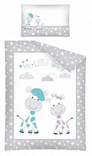 Kinderbettwäsche 2-tlg. 100% Baumwolle 40x60 + 100x135 cm mit Reißverschluss (Giraffe-Stars grau)