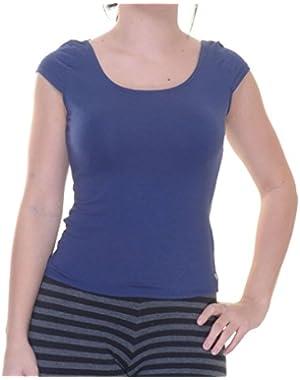 Guess Womens Criss-Cross V-Back Crop Top Blue XS