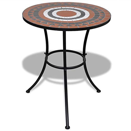Terra Cotta Bistro Table - Galapara Mosaic Bistro Table,Outdoor Garden Dining Patio Cafe Side Ceramic Terracotta and White 23.6