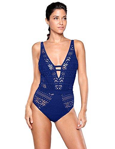 Grapent Women's Blue Lace Crochet Plunging Neckline Open Back One Piece Bathing Suit Size M (US 4-6) (For Crochet Women Swimsuits)