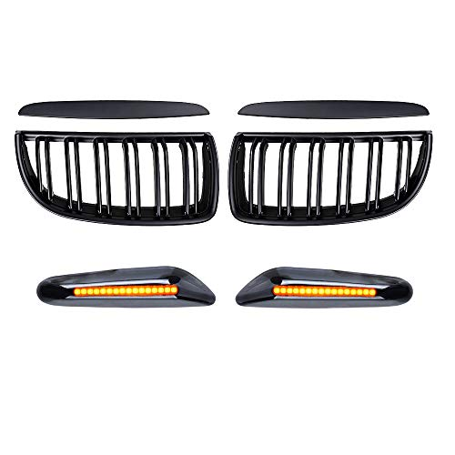 Astra Depot Matte Black Double Line Kidney Grille and Smoked 16-LED Side Marker Compatible with BMW E90 2006 323i 325xi 330i 2007-2008 323i 328i 328xi 335i 335xi 4-Door Pre-Facelift