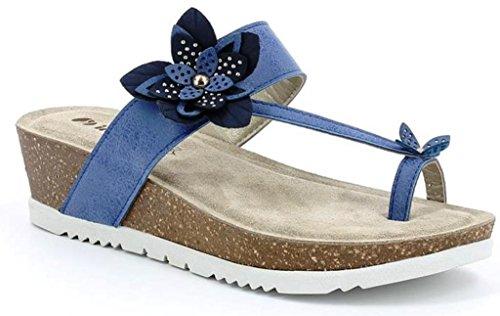 INBLU - Sandalias de vestir de piel sintética para mujer azul Jeans 40