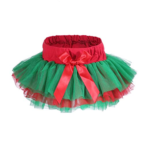 Baby Girls'Tutu Skirt 6 Layered Tulle Skorts Newborn Toddler Birthday Photography Outfits 0-24 Month (red+Green, XL:12-24 Months)]()
