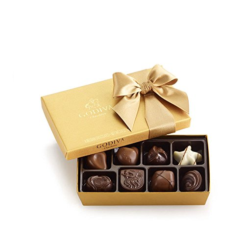 Godiva Chocolatier Assorted Chocolate Gold Ballotin Gift Box, Great for Gifting, Belgian Chocolate, 8 pc