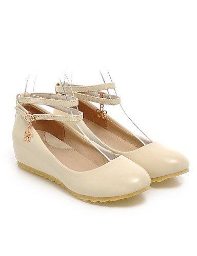 zapatos Flats negro Beige PDX us5 redonda piel eu35 uk3 cn34 black sintética punta mujer Casual plano talón de rosa azul de gqwv5