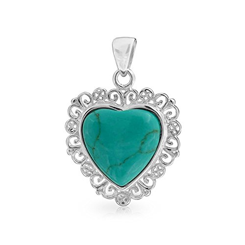 - Vintage Style Filigree Stabilized Turquoise Heart Shape Pendant Necklace For Women For Teen 925 Sterling Silver