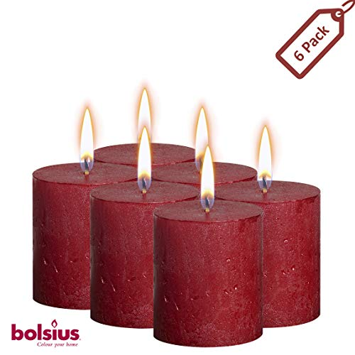 BOLSIUS Rustic Full Metallic Red Candles - Set of 6 Unscented Pillar Candles - Red Candles with a Full Metallic Coat - Slow Burning - Perfect Dcor Candle - 80/68m 3.25X 2.75 Inches