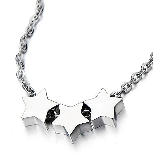 COOLSTEELANDBEYOND Small Triple Stars Pendant Necklace for Girls for Daughter Stainless Steel Clavicle Chain 18 Inches