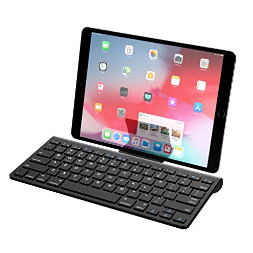 MoKo Bluetooth Keyboard, Ergonomic Ultra-Slim Wireless Computer Keyboard with a Removable Bracket for iOS, Windows, Android, Phone, Tablet - Black