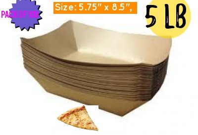 Brown Kraft Paper Food Trays Great for Parties, Takeout, Home Use, Outdoor brown paper plates- hotdog holder hot dog tray disposable french fries tray(100, 5.75