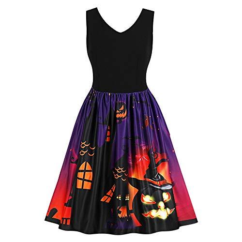 DressLily Women Printed Dress Sleeveless V Neck Party Halloween Vintage Dresses Purple 3XL