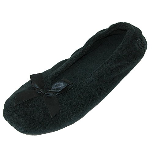 of Pack Ballerina Terry Black Black Isotoner Totes Womens Classic and Slippers 2 IFY7n0qw
