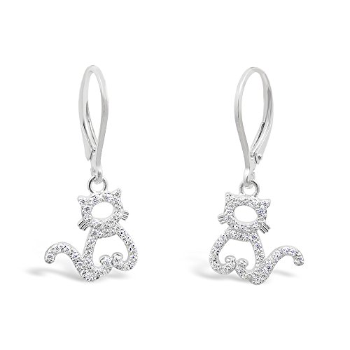 925 Solid Sterling Silver Dangling Cat Earrings with Cubic Zirconia - Hypoallergenic Allergy Free Jewelry