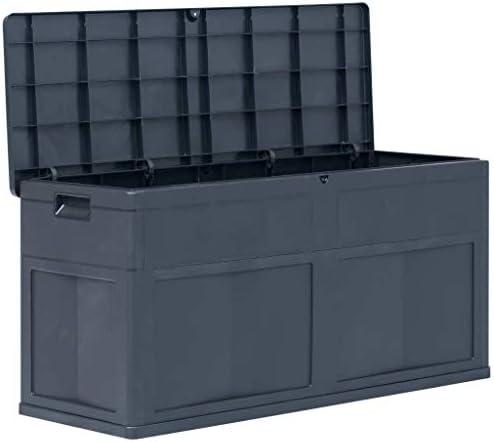 Tidyard Garten-Aufbewahrungsbox Gartenbox Werkzeugkasten Aufbewahrungstruhe 119 x 46 x 60 cm,Kapazität: 320 L,Abschließbar Geeignet für den Innen- und Außenbereich,Kunststoff (mit Holzoptik)