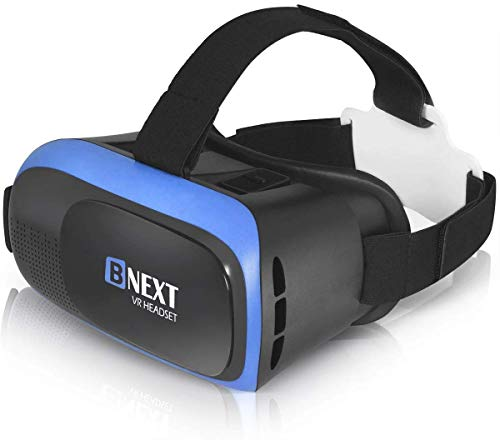 VR Headset Compatible with iPhone & Android Phone - Universal Virtual Reality Goggles - Play Your Best Mobile Games 360 Movies with Soft & Comfortable New 3D VR Glasses   Blue   w/Eye Protection