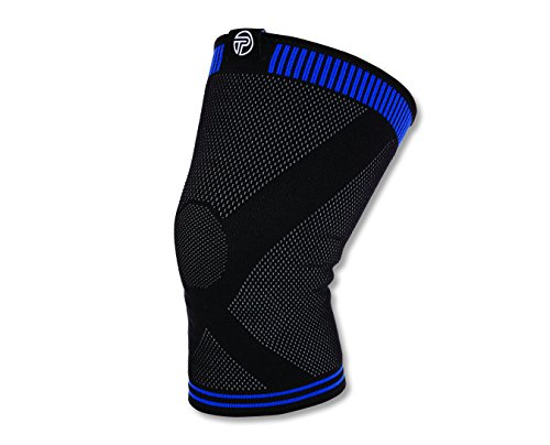 Pro-Tec Athletics 3D Flat Premium Knee Sleeve, Black/ Blue, Large (Gel Protec)