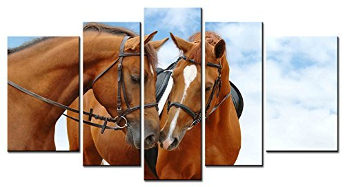 - EZON-CH Modern Art Animal Series 5 piece Paintings two Reddish Brown Horse with Heart shaped White Hairs Close Together Murmur Picture Home Decor Wall Art For Home Stretched and Framed