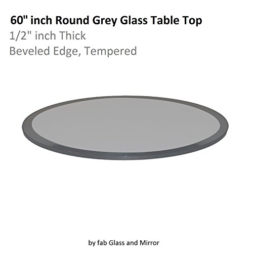 Fab Glass and Mirror Glass Table Top: 60'' Round 1/2'' Thick Beveled Tempered, Grey by Fab Glass and Mirror