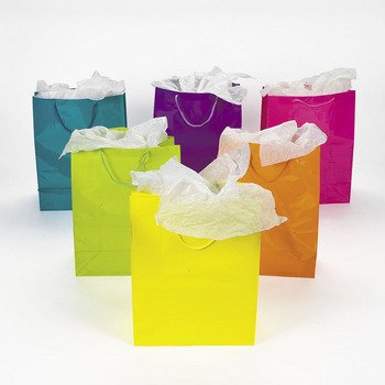 Lot of 12 Large Bright Neon Color Paper Gift Party Bags, Health Care Stuffs