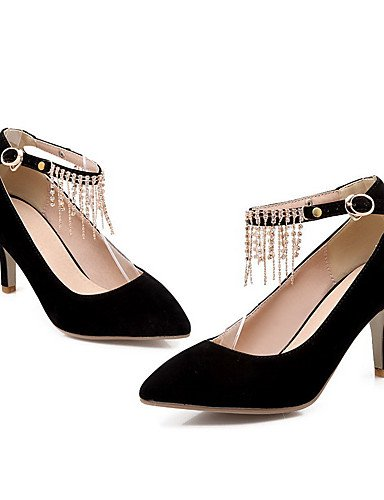 GGX/Damen Spitz geschlossen Zehen High Heels Frosted Solide Schnalle pumps-shoes black-us9.5-10 / eu41 / uk7.5-8 / cn42