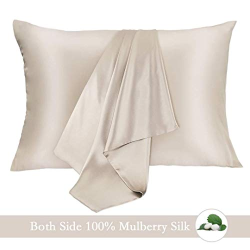 JOGJUE Silk Pillowcase for Hair and Skin 2 Pack 100% Mulberry Silk Bed Pillowcase Hypoallergenic Soft Breathable Both Sides Silk Pillow Case with Hidden Zipper, Standard Size Pillow Cases (Buff ()