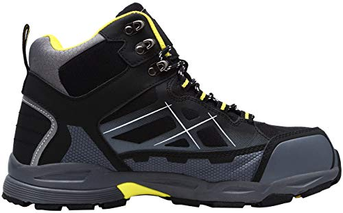 LARNMERN Mens Work Safety Boots, Steel Toe Casual Breathable Outdoor Protection Footwear/12/Black/yellow