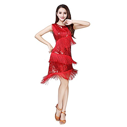 Danza Rumba Baile ESHOO de Lentejuelas de Rojo Laties Concurso latín Tassle Tango Samba Vestido Traje la Pqw8POSU